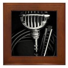 Harmonica and Vintage Microphone Framed Tile