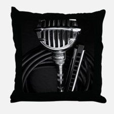 Harmonica and Vintage Microphone Throw Pillow