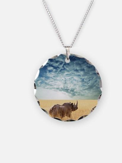 rhino Necklace Circle Charm