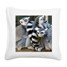 Ring-Tailed Lemur Square Canvas Pillow