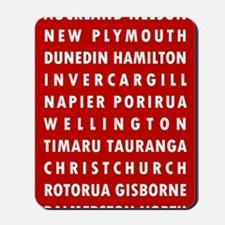 Red NZ Cities Mousepad