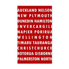 Red NZ Cities Rectangle Car Magnet
