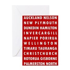 Red NZ Cities Greeting Card