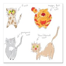 """Set of hand drawn cats i Square Car Magnet 3"""" x 3"""""""