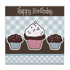 Beautiful vector Birthday muffin card Tile Coaster