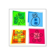 "Christmas Icons Square Sticker 3"" x 3"""