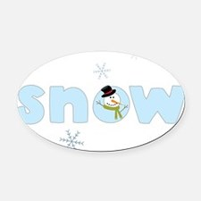 Snow Oval Car Magnet