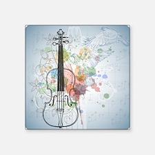 "Violin, music sheets, flyin Square Sticker 3"" x 3"""
