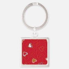 Background hearts and swirls Square Keychain