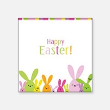 "Easter Rabbits Square Sticker 3"" x 3"""