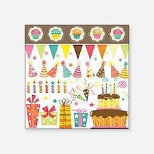 """Birthday Celebration Elemen Square Sticker 3"""" x 3"""""""