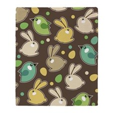 Bunnies and Birds Throw Blanket