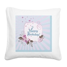 Cute Blue And Pink Birthday C Square Canvas Pillow
