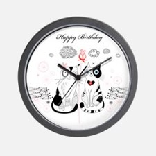 Greeting card with cats Wall Clock