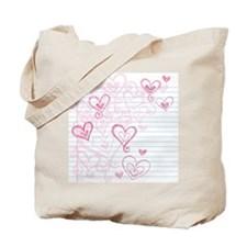 Hand-Drawn Valentine's Day Love Hearts Sk Tote Bag