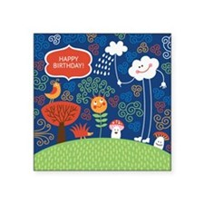 """greeting card with cute car Square Sticker 3"""" x 3"""""""