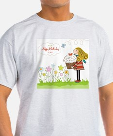 Happy Birthday card with girl and cu T-Shirt