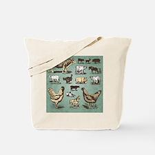 farm animals vintage set (vector) Tote Bag