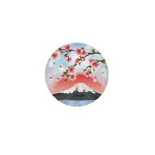 Japanese Landscape With Mountain And S Mini Button