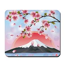 Japanese Landscape With Mountain And Sak Mousepad