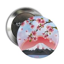 """Japanese Landscape With Mountain And  2.25"""" Button"""