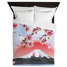Japanese Landscape With Mountain And S Queen Duvet