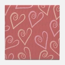 Heart Love Background Tile Coaster