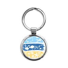 Illustration on a sea theme Round Keychain