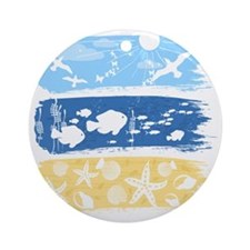 Illustration on a sea theme Round Ornament