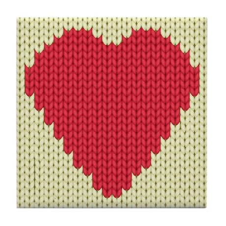 Knitted Heart Tile Coaster by Admin_CP66866535