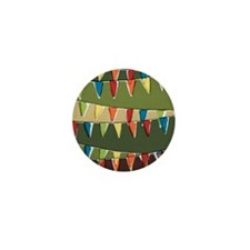 Party pennant bunting. Happy holiday b Mini Button