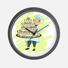 Pastry Chef With Huge Cake Wall Clock