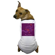 Purple and pink floral birthday card Dog T-Shirt