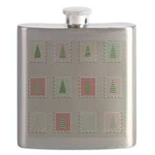 Postal stamps set fir-trees. Flask