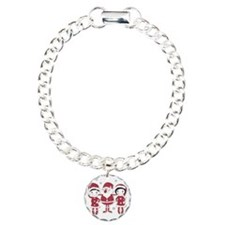Santa, boy and girl Charm Bracelet, One Charm