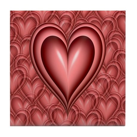 Pink Heart Tile Coaster