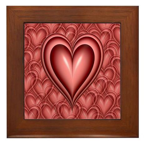 Pink Heart Framed Tile