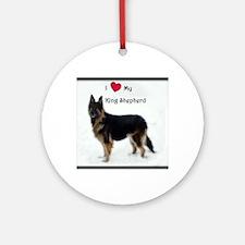 I heart my King Shepherd Round Ornament