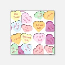 """Repeating Hearts Pattern Square Sticker 3"""" x 3"""""""