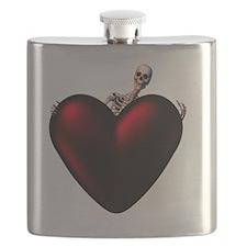 Skeleton With Dark Heart Flask