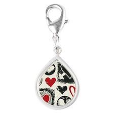 sketchy hearts, hand drawn  Silver Teardrop Charm