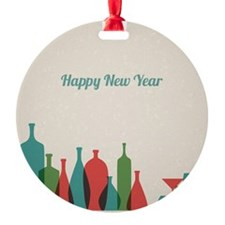 Retro New Year card with bottles an Ornament