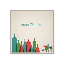 "Retro New Year card with bo Square Sticker 3"" x 3"""