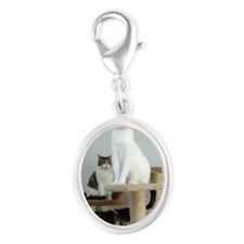 Cats on Pedestals Silver Oval Charm