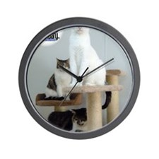 Cats on Pedestals Wall Clock
