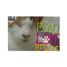 Peace Love Rescue Rectangle Magnet