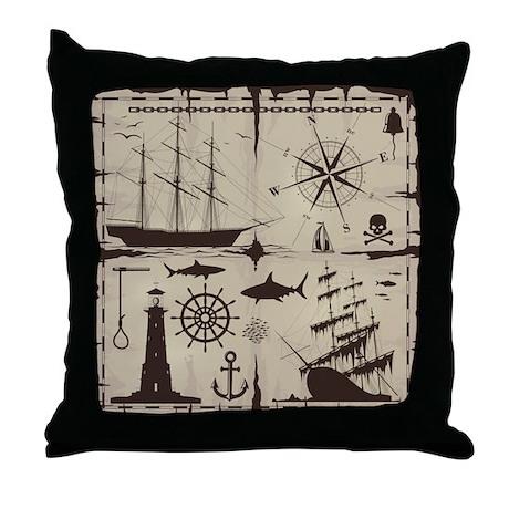 Set Of Nautical Design Elements Throw Pillow