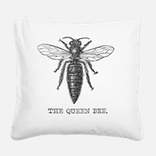 Queen Bee Vintage Line Art Square Canvas Pillow