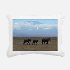 Elephants with Kilimanja Rectangular Canvas Pillow