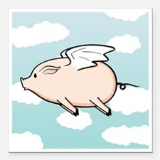"""When Pigs Fly Vector Square Car Magnet 3"""" x 3"""""""
